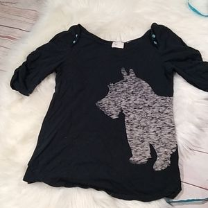 Anthropology Scottie dog tee size small
